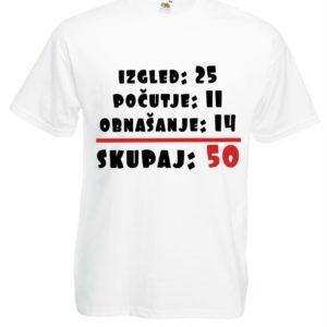 Moška majica – Izgled 25, Počutje 11, Obnašanje 14, Skupaj 50